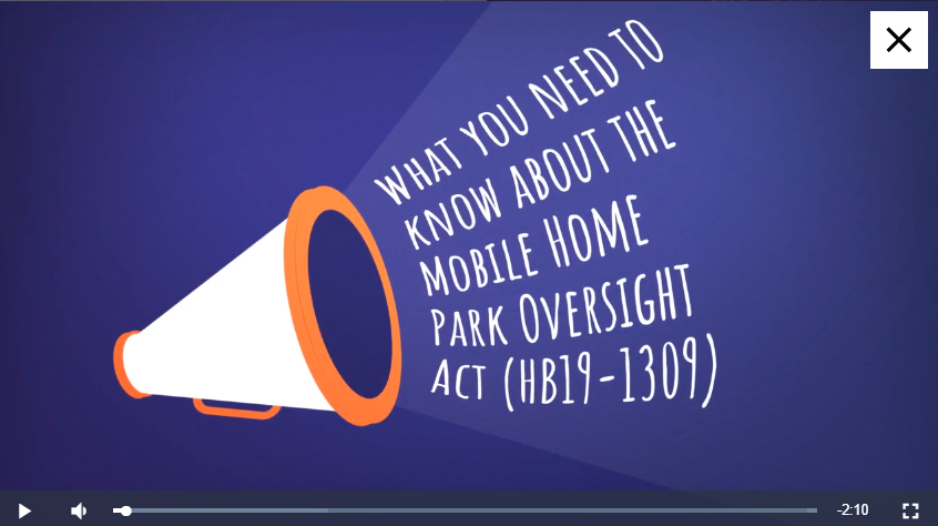 Blue background with white letters saying what you need to know about the Mobile Home Park Oversight Act (HB18-1309)